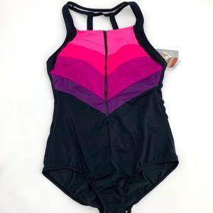 Reebok One Piece Black Pink Sport Swimsuit 16 NEW